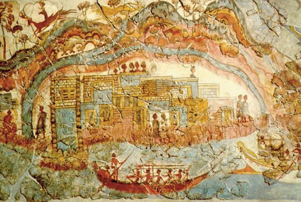 Bronze age 'Flotilla' fresco from room 5, in the west house at the Minoan town of Akrotiri, Santorini, Greece. Shows a town under the pyroclastic cloud of an eruption. (Public Domain)