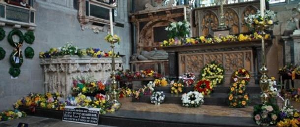Flowers in the Holy Trinity Church in Stratford-upon-Avon for the annual Shakespeare Service.
