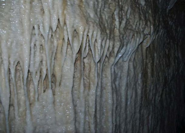 Flowstones, limestone deposits left on the walls of Harrison's Cave (CC BY 2.0)