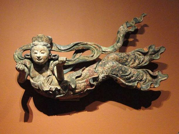 Flying Apsaras, Japan, c. early 18th century, wood with pigment.