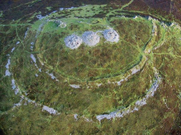 Foel Drygarn Hillfort, a late Bronze Age/early Iron Age hillfort in the Preseli Hills with three bluestone cairns at the summit.