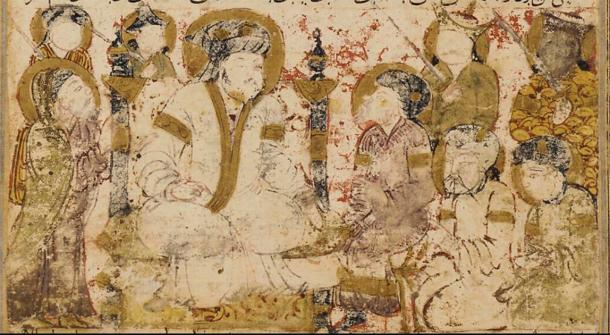 Folio from a Tarikhnama (Book of history) by Balami, showing the proclamation of Abu al-Abbas al-Saffah as caliph. (Public domain)