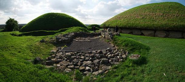 Foundations of a later (Christian?) building, long post-dating the construction of Knowth's Passage Tomb Cemetery. The main mound is visible at right, with a satellite tomb to the left.