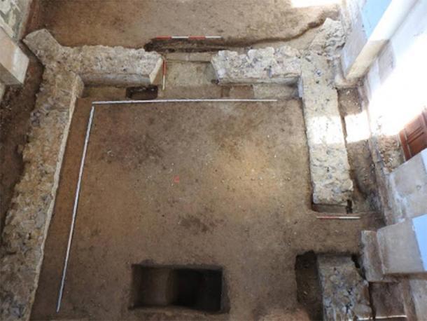 Foundations of Renaissance church under the floor of the Obišovce church, where the coin hoard was found. (KPÚ Košice)