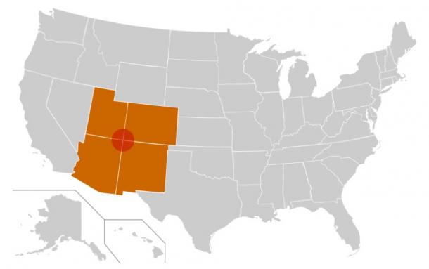 The Four Corners region is the red circle in this map. The four corners states – Colorado, Utah, Arizona, New Mexico, USA—are highlighted in orange.