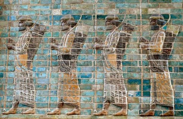 Four Persian warriors of 'The Immortals', from the famous glazed brick friezes found in the Apadana (Darius the Great's palace) in Susa
