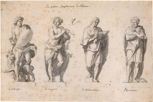 'The Four Temperaments' by Charles Le Brun (Wikimedia Commons). The temperaments Choleric, sanguine, melancholic, and phlegmatic were believed to be caused by an excess or lack of any of the four humors.