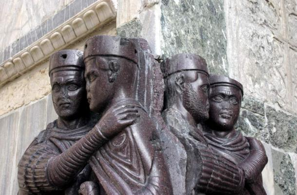"A portion of the sculpture, ""Portrait of the Four Tetrarchs,"" made of Imperial porphyry around A.D. 300, depicted four Roman emperors. It is currently located on the facade of St. Mark's Basilica in Venice, Italy."