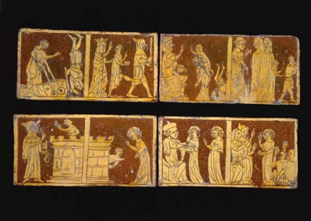 Four of the Tring Tiles at the British Museum. (CC BY NC SA 4.0)