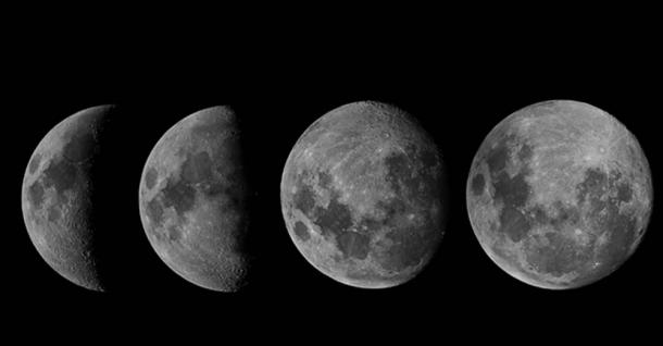 Four stages of the lunar cycle (Crescent, quarter, gibbous, full)