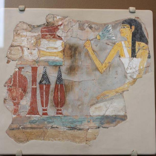 Fragment of a Tomb Painting with Seated Woman Holding a Lotus. (Peter Roan/CC BY NC 2.0)