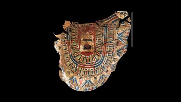 Fragment of painted cartonnage found inside the tomb. Credit: Ministry of Antiquities