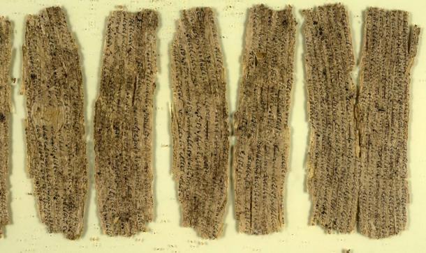 Fragments of birch bark writings from ancient Gandhara. Credit: British Library