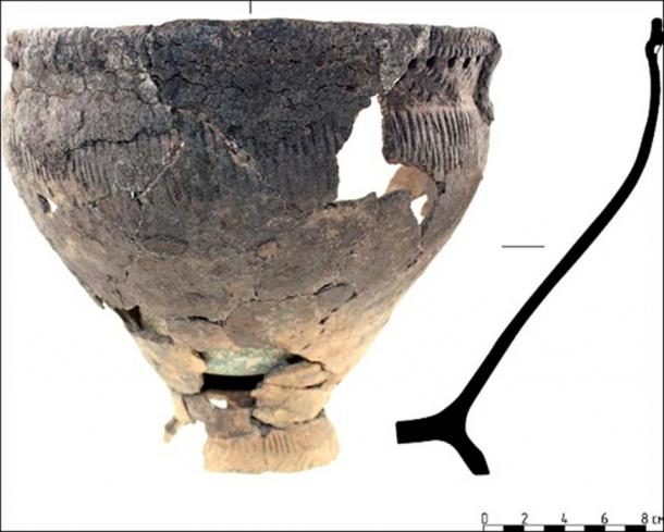 Fragments of pottery from the funeral meal were also found.