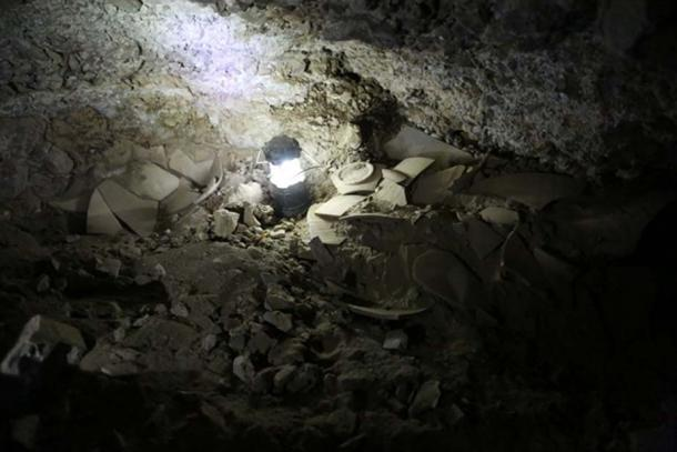 Fragments of shattered jars believed to have contained stolen Dead Sea scrolls, found in cave 12 near Qumran.
