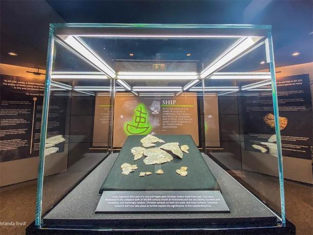 Fragments of the 5th-century chalice found near Hadrian's Wall. Credit: The Vindolanda Trust