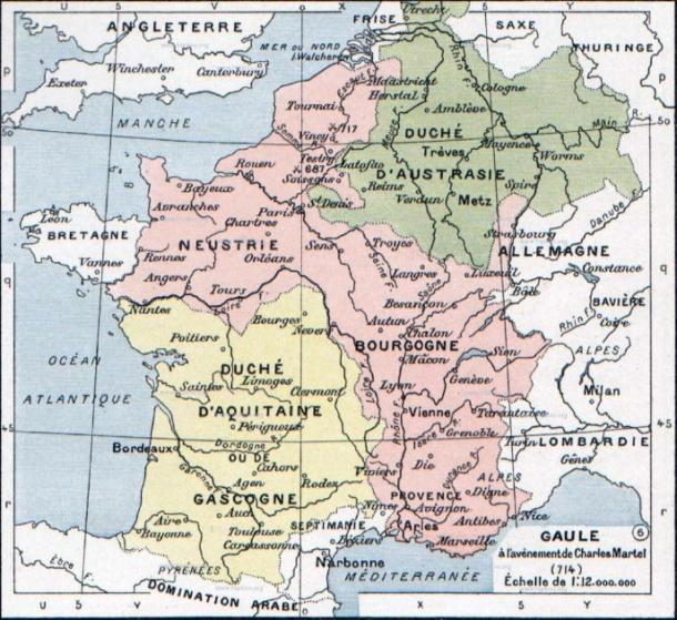 France at the death of Pippin of the Carolingian dynasty, 714. (Vladimir Solovjev / Public Domain)