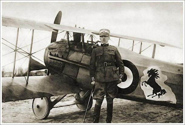 Francesco Baracca with his SPAD fighter jet with the prancing horse logo that later became the emblem of Ferrari. (Tom Wigley / CC BY-NC-SA 2.0)