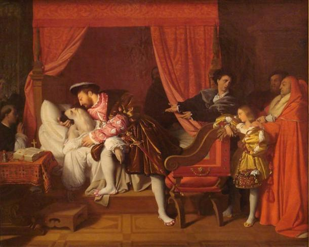 Francis I Receives the Last Breaths of Leonardo da Vinci. (1818) By Jean Auguste Dominique Ingres.