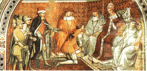 Frederick Barbarossa submits to the authority of Pope Alexander III by Spinello Aretino, 14th century