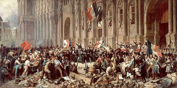 During the French Revolution, the National Assembly was divided into supporters of the king and supporters of the revolution. 'Lamartine in front of the Town Hall of Paris rejects the red flag on 25 February 1848'