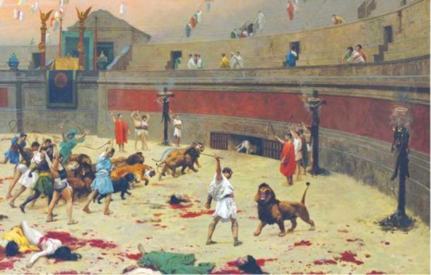 French painter Jean-Léon Gérôme depicted gladiators fighting beasts in a 1902 painting.