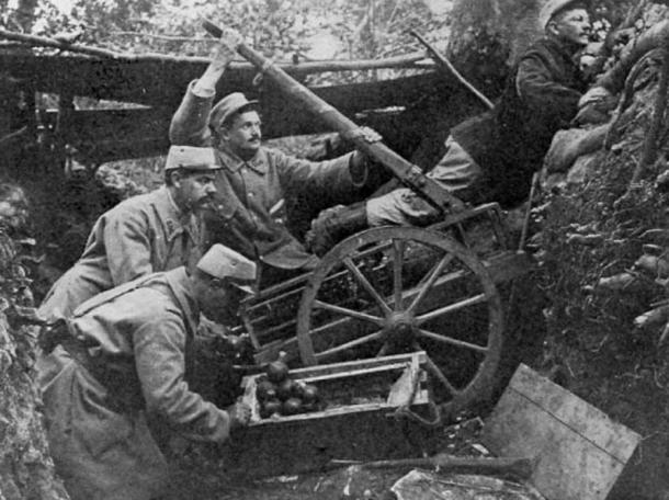 French soldiers using a grenade catapult in World War I.