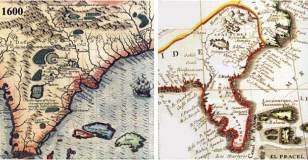 Left: French Map demonstrating the Apalachites (Apalachee) locations in the South. Right: Spanish Map demonstrating the Apalachites (Apalachee) locations in the South.