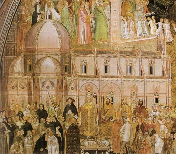 Fresco by Andrea di Bonaiuto, painted in the 1360s, before the commencement of the dome.