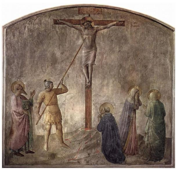 Fresco by Fra Angelico, Dominican monastery at San Marco, Florence, showing the lance piercing the side of Jesus on the cross (c. 1440)