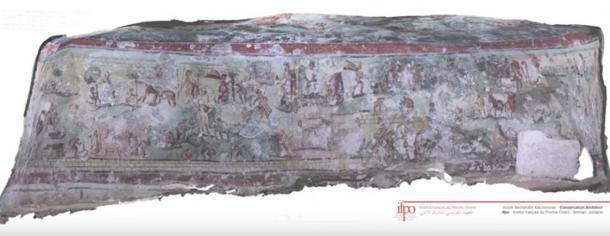Fresco from the walls of Beit Bas Roman tomb. (YouTube Screenshot)
