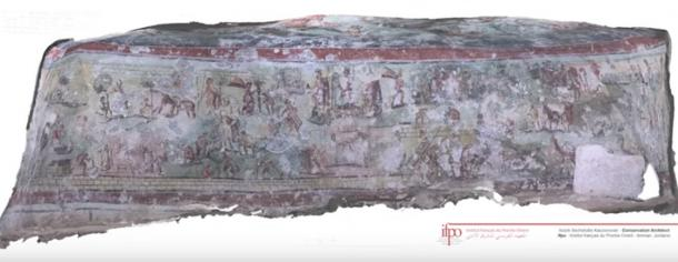 Fresco from the walls of Beit Bas Roman tomb. (YouTube Screenshot)