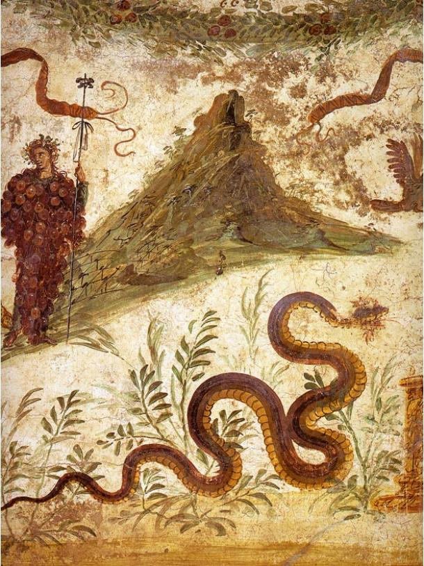 Fresco of Bacchus and Agathodaemon with Mount Vesuvius, as seen in Pompeii's House of the Centenary. Note the serpent imagery.