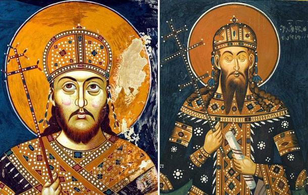 Fresco of Serbian Emperor Stefan Dušan. (14th Century), Lesnovo Monastery, Republic of Macedonia and his son Stefan Uroš V of Serbia.