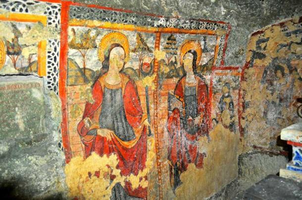 Fresco of St. Agatha. (Image: Peter J. Shields)