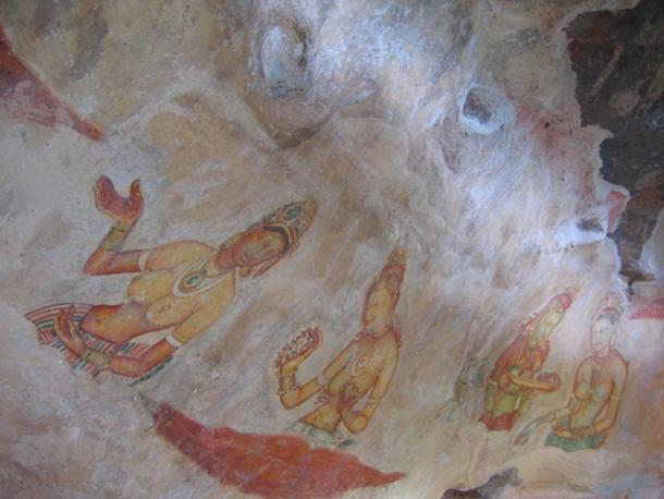 Fresco of ladies of Sigiriya, Sri Lanka. c. 477 - 495 AD.