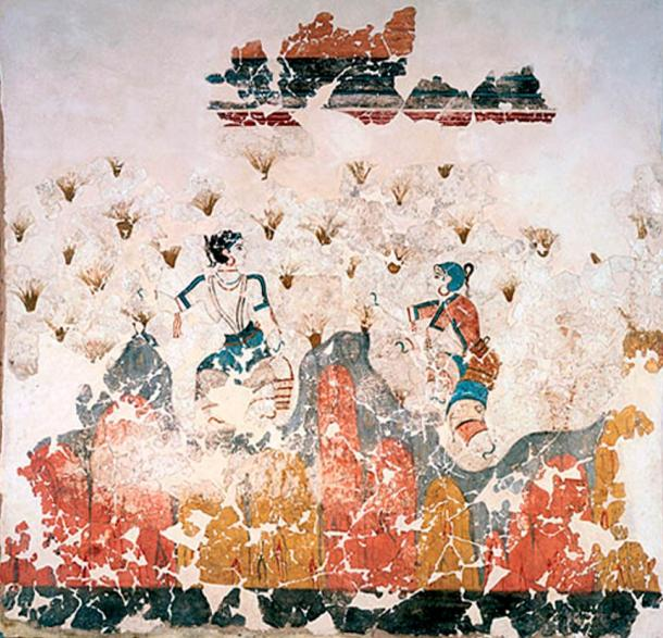 Fresco of saffron gatherers from the Bronze Age excavations in Akrotiri on the island of Santorini, Greece