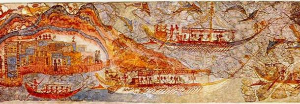 Fresco ship procession or flotilla. Frieze from the West House.
