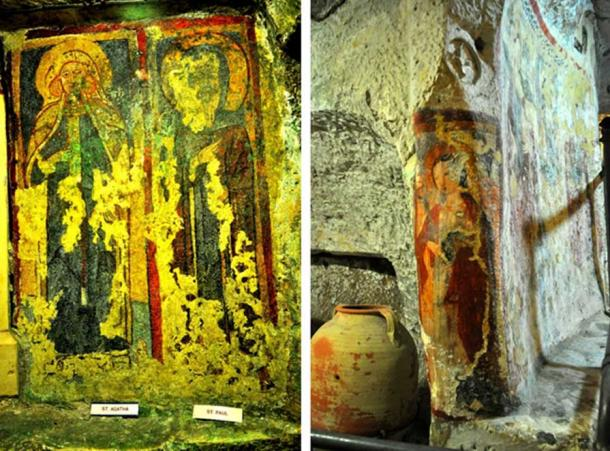 Frescoes at the crypt of St. Agatha. (Image: Peter J. Shields)