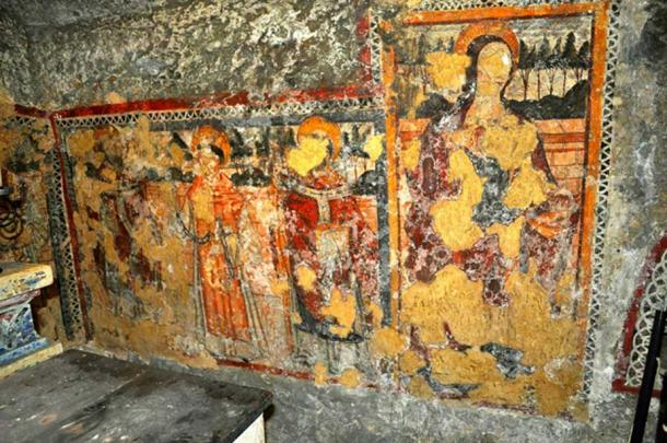 Frescos in the crypt of St. Agatha. (Image: Peter J. Shields)