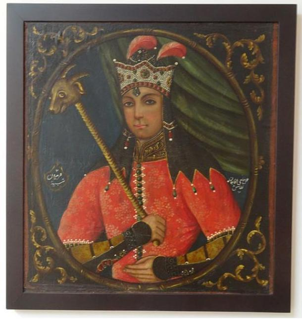 Freydun (Feridoun), pintado por Haji Aqa ene - principios del siglo 19