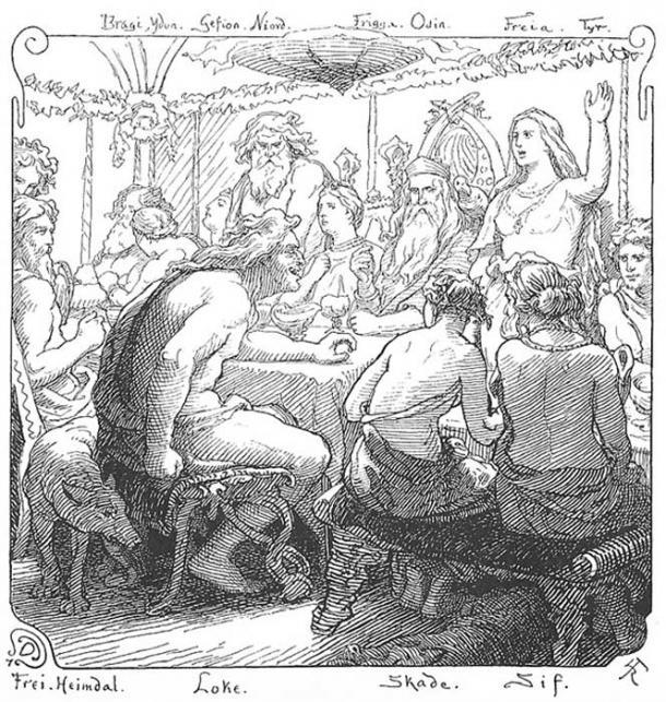 Freyja and Loki flyte in an illustration (1895) by Lorenz Frølich