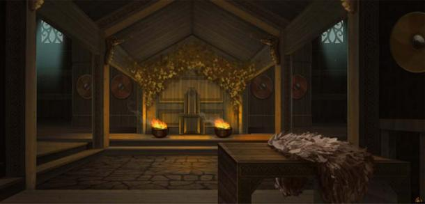 Freyja has a great hall called Sessrúmnir (meaning 'Seat Room') in Folkvangr. (CraigHodgesArt/Deviant Art)