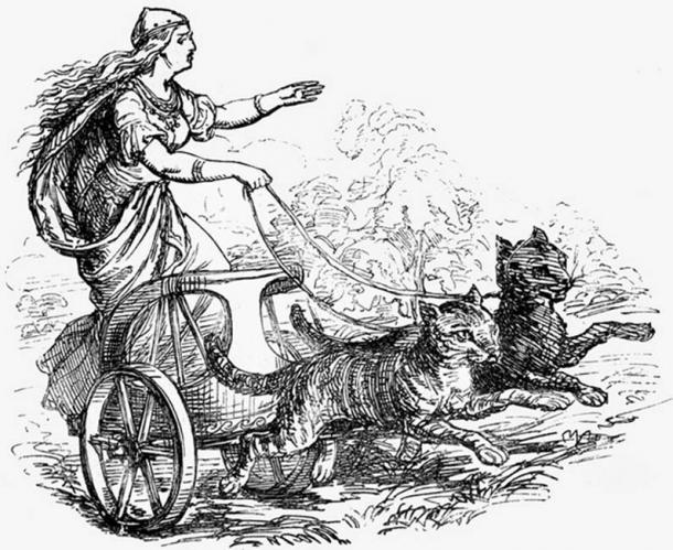 Freyja and her Cat-Drawn Chariot.