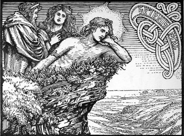 Njörðr, Skaði, and Freyr as depicted in The Lovesickness of Frey (1908) by W. G. Collingwood.