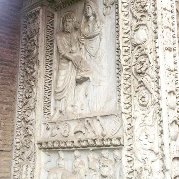 Frieze of Septimius Severus and his wife. (Image: Alexander Meddings for TimeTravelRome)