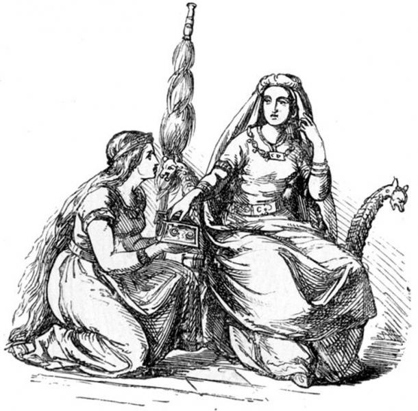 Frigg and one of her handmaids, presumably Fulla. (1865) Ludwig Pietsch.