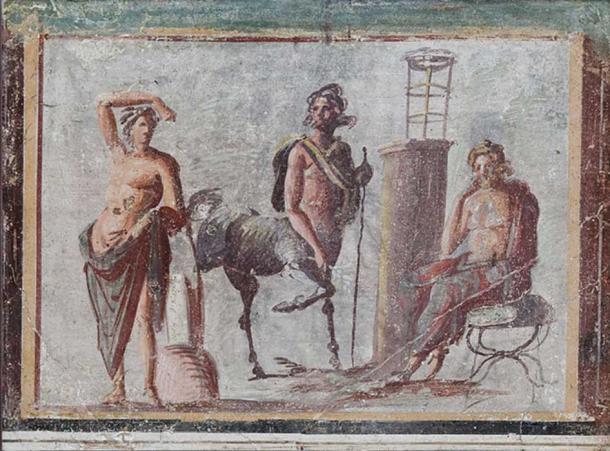 From left to right: Apollo (of the Apollo Lykeios type), Chiron, and Asclepius.