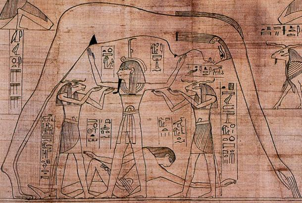 From the Greenfield Papyrus - sky goddess Nut with earth god Geb reclining beneath (Public Domain)