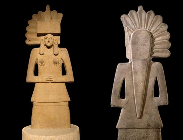 Front and back of a Huastec Tlazolteotl statue, the British Museum. (The Trustees of the British Museum/CC BY NC SA 4.0)